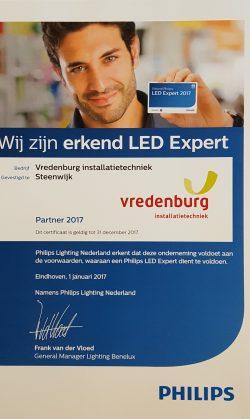 Vredenburg Installatietechniek Steenwijk - Partner 2017 Philips LED Expert